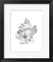 Framed Neighborhood Map (Greyscale)