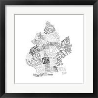 Framed Neighborhood Map (Greyscale)