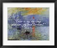 Framed Monet Quote Impression Sunrise