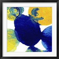 Framed Yellow and Blue Abstract Flowing Paint