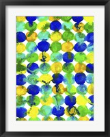 Framed Blue Yellow Green Abstract Flowing Paint Pattern