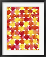 Framed Pink Yellow Red Orange Flowing Paint