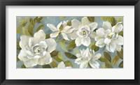 Framed Gardenias on Slate Blue