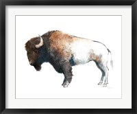 Framed Colorful Bison Dark Brown