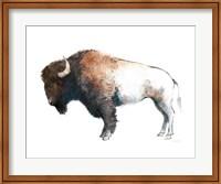 Framed Colorful Bison Dark Brown