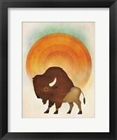 Framed Blazing Sun Bison