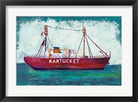 Framed Nantucket Lightship Blue Green