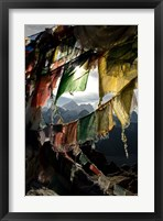 Framed Prayer flags on Summit of Gokyo Ri, Everest region, Mt Everest, Nepal