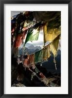 Framed Prayer flags on Summit of Gokyo Ri, Everest region, Mt Everest, Nepal