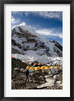 Framed Tents Scattered along Khumbu Glacier,  Mt Everest, Nepal