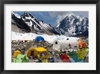 Framed Tents of Mountaineers Scattered along Khumbu Glacier, Base Camp, Mt Everest
