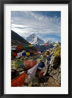 Framed Prayer flags, Everest Base Camp Trail, peak of Ama Dablam, Nepal