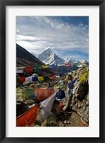 Framed Prayer flags, Everest Base Camp Trail, peak of Ama Dablam, Nepal