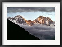 Framed Nepal, Sagarmatha NP, Mt Everest, Lotse and Nuptse