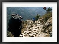 Framed Trekkers on the trail towards Namche Bazaar, Khumbu, Nepal
