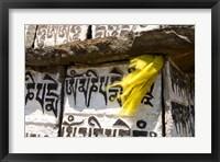 Framed Prayer flag and Mani Stones, Buddhist Mantras, Khumbu, Nepal