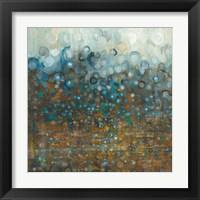 Framed Blue and Bronze Dots