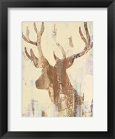 Framed Golden Antlers II Neutral Grey