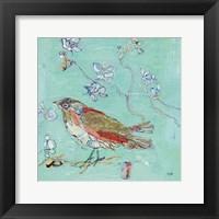Framed Aqua Bird