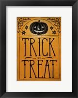 Vintage Halloween Trick or Treat Framed Print