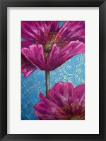 Framed Pink Poppies on Blue