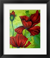 Framed Red Poppies on Green