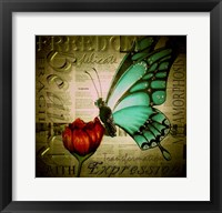 Framed Butterfly on Flower with Words