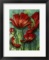 Framed Red Poppies & Swirls