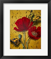 Framed Red Poppies With Yellow Butterflies