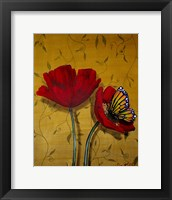Framed Red Poppies With Yellow Butterfly