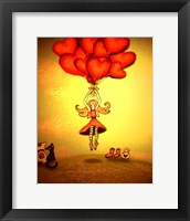 Framed Girl Holding Heart Balloons