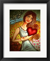 Framed Valentines Day Woman with Heart