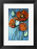 Framed Orange Poppies on Blue