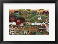 Framed Amish Quilt Village
