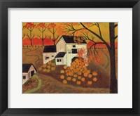 Framed Pumpkin Barn Autumn Folk Art