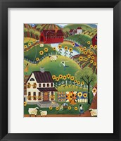 Framed Primitive Quilt Maker House Sunflower Sheep