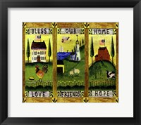 Framed Bless our Home Love Friends Hope Lang