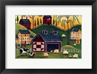 Framed Sunrise Red Quilt Barn
