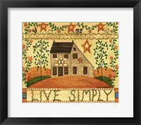 Framed Live Simply Folk Art