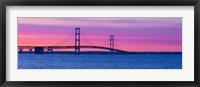 Framed Mackinac Bridge at Sunset, Michigan