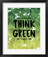 Framed Think Green Ombre Leaves