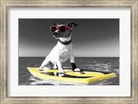 Framed Pop of Color Surf's Up Dog