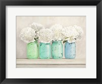 Framed Peonies in Mason Jars