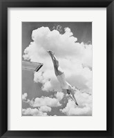 Framed Woman Jumping from Springboard