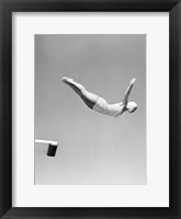 Framed Woman Swan Dive Off Diving Board, 1950