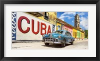Framed Vintage Car and Mural, Cuba