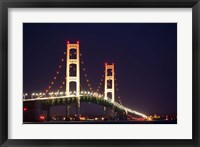 Framed Mackinac Bridge at Night