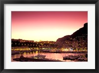 Framed Harbor at Sunset, Monte Carlo, Cote D'Azure, Monaco