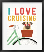 Framed Beach Bums Pug Bicycle I Love