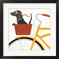 Framed Beach Bums Dachshund Bicycle I